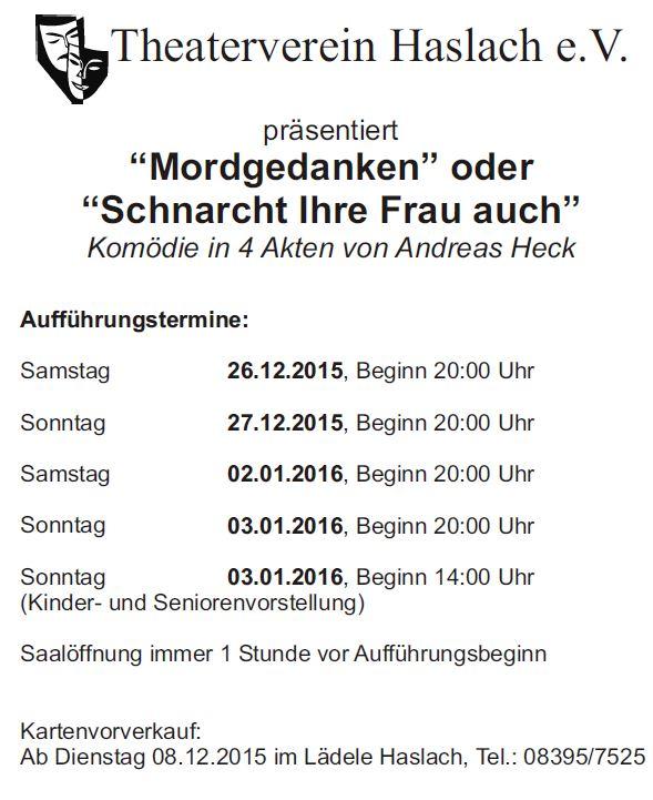 """Plakat des Theatervereins Haslach zu """"Mordgedanken! oder Schnarcht Ihre Frau auch?"""""""