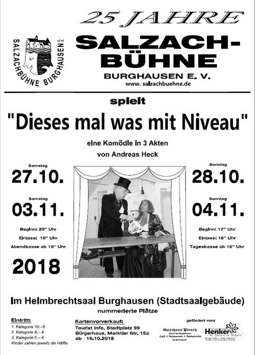 """Plakat der Salzachbühne Burghausen zu """"Dieses Mal was mit Niveau!"""""""