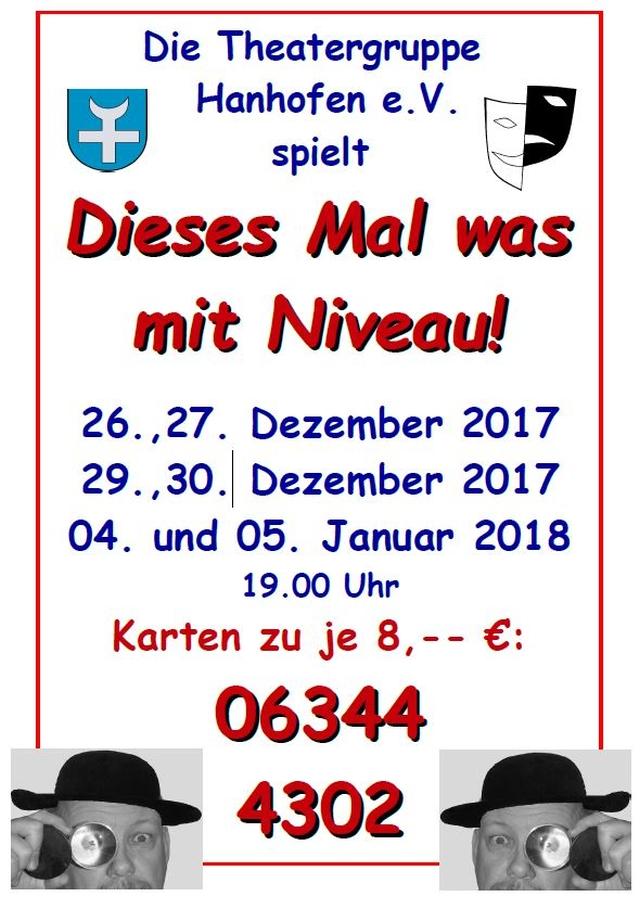 """Plakat der Theatergruppe Hanhofen e.V. zu """"Dieses Mal was mit Niveau!"""""""