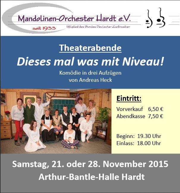 """Plakat zu """"Dieses mal was mit Niveau"""" des Mandolinenorchesters Hardt"""