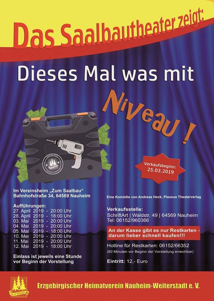 """Plakat des Saalbautheaters des erzgebirgischen Heimatverines Nauheim zu """"Dieses Mal was mit Niveau"""""""