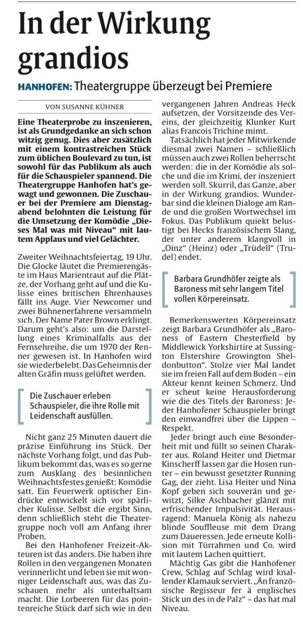 """Artikel zu """"Dieses Mal was mit NIveau"""" von Susanne Kühner"""