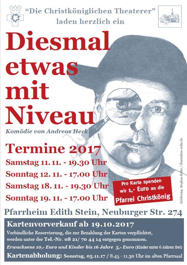 """Plakat der christkoeniglichen Theaterer Augsburg zu """"Diesmal etwas mit NIveau"""""""
