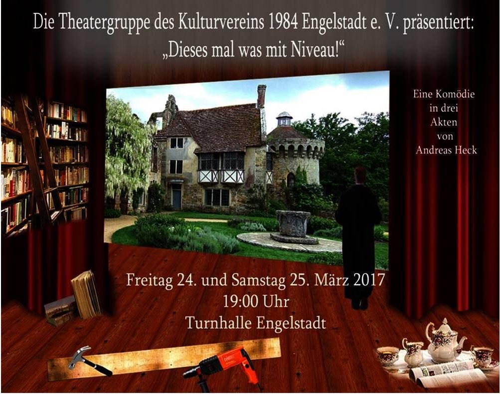 """Plakat des Kulturvereins Engelstadt zu """"Dieses mal was mit NIveau!"""""""