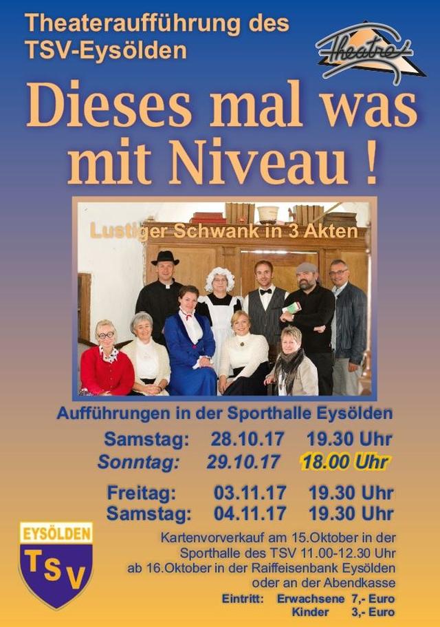 """Plakat des TSV Eysoelden zu """"Dieses Mal was mit Niveau!"""""""