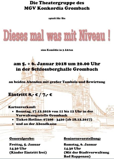 """Plakat der Theatergruppe des MGV Konkordia Grombach zu """"Dieses Mal was mit Niveau!"""""""