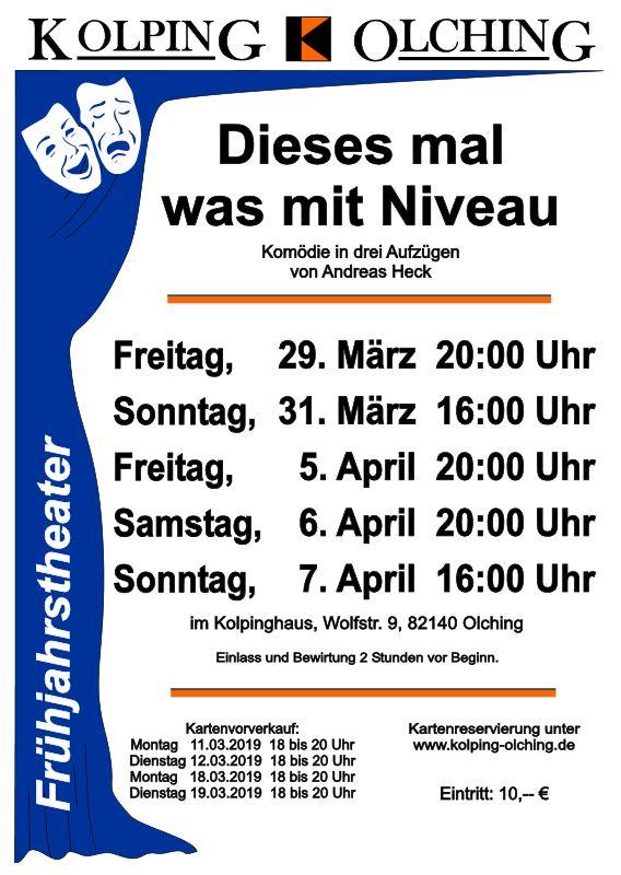 """Plakat der Kolpingfamilie Olching zu """"Dieses mal was mit Niveau"""""""
