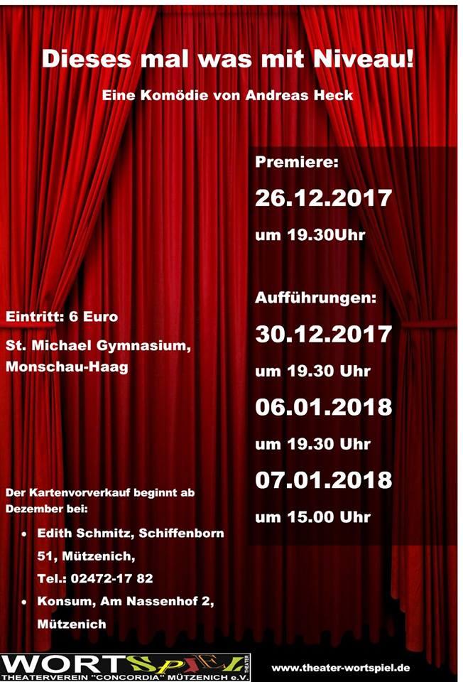 """Plakat des Theaters Wortspiel Concordia Muetzenich zu """"Dieses Mal was mit Niveau"""""""