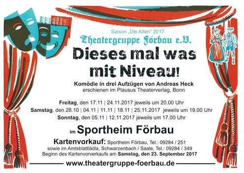"""Plakat der Theatergruppe Foerbau zu  """"Dieses Mal was mit Niveau!"""""""
