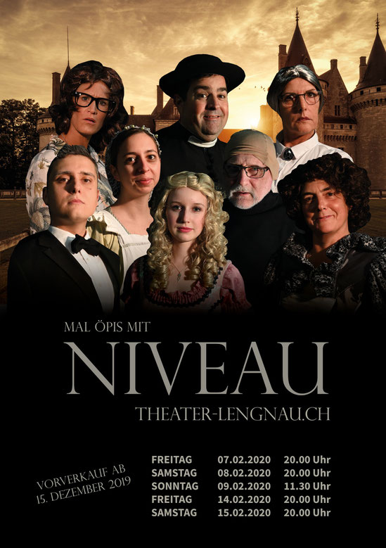 "Plakat des Theaters Lengnau zu ""mal öpis mit Niveau"""