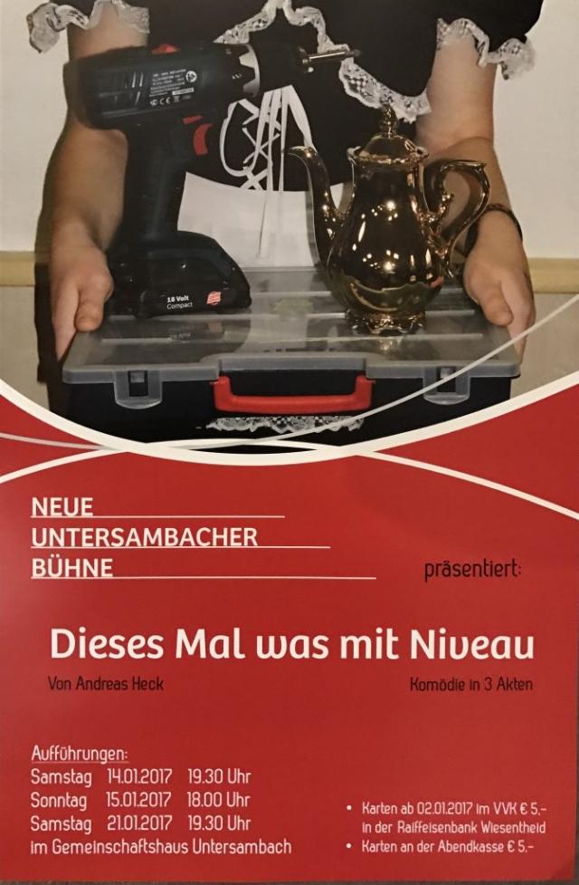 """Plakat der neuen Bühne Untersambach zu """"Dieses mal was mit Niveau"""""""
