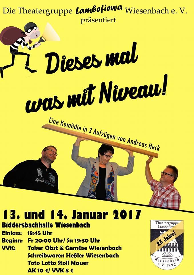 """Plakat zu """"Dieses mal was mit Niveau!"""" von Lambefiewa Wiesenbach"""