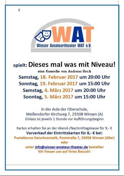 """Plakat des Winser Amateurtheaters WAT zu """"Dieses mal was mit Niveau"""""""
