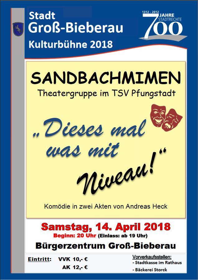 """Plakat der Sandbachmimen zu """"Dieses Mal was mit Niveau"""" in Gross-Bieberau"""