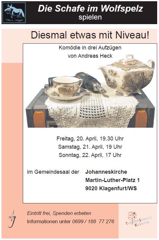"""Plakat der Schafe im Wolfspelz Klagenfurt zu """"Diesmal etwas mit Niveau!"""""""