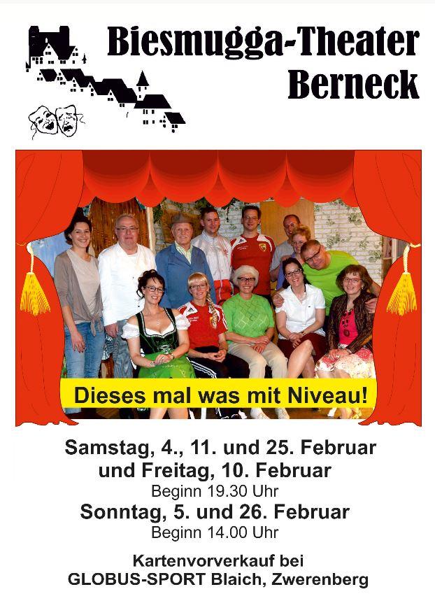 "Plakat des Biesmugga Theaters Berneck zu ""Dieses mal was mit Niveau"""