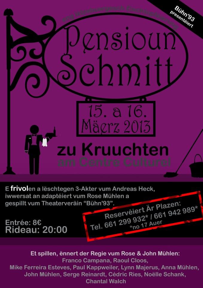 """Plakat der Bühn'93 zu """"Pensioun Schmitt"""""""