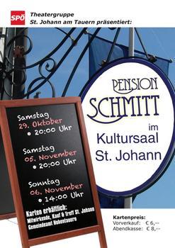 Plakat Pension Schmitt der SPÖ Theaterrunde Sankt Johann am Tauern