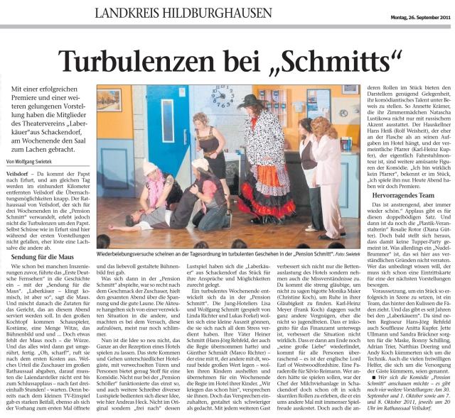 """Artikel aus der Zeitung """"Freies Wort"""" Landkreis Hildburghausen"""