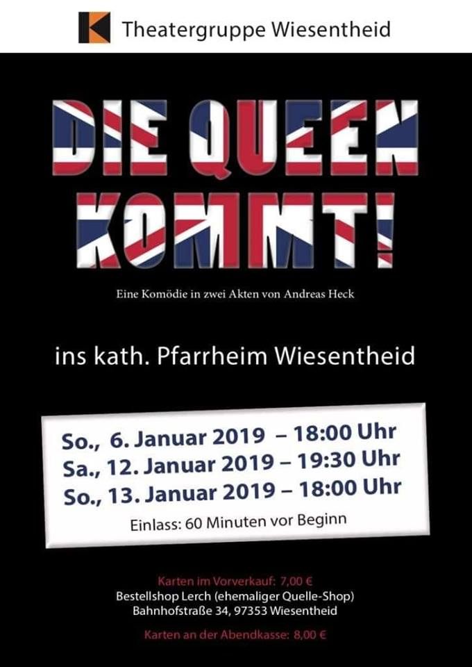 """Plakat der Theatergruppe in der Kolpingfamilie Wiesentheid zu """"Die Queen kommt!"""""""