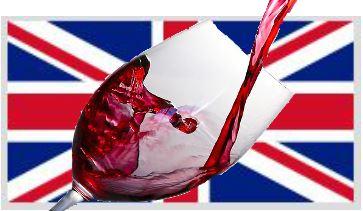 Bild des Union Jack - der britschen Flagge,  entnommen aus de.wikipedia.org mit Weinglas und Wein zur freien Nutzung