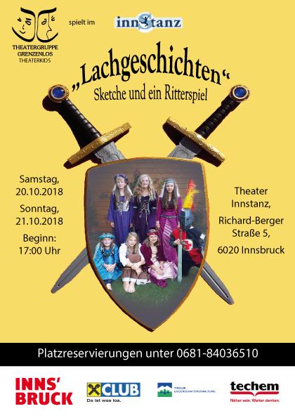 Plakat Vorderseite der Aufführungen der Theaterkids der Theatergruppe Grenzenlos, Innsbruck.