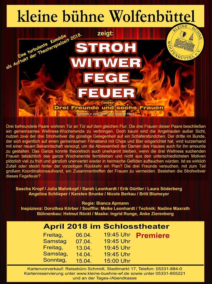 Plakat der kleinen Bühne Wolfenbüttel zu den Aufführungen 2018 - Strohwitwerfegefeuer