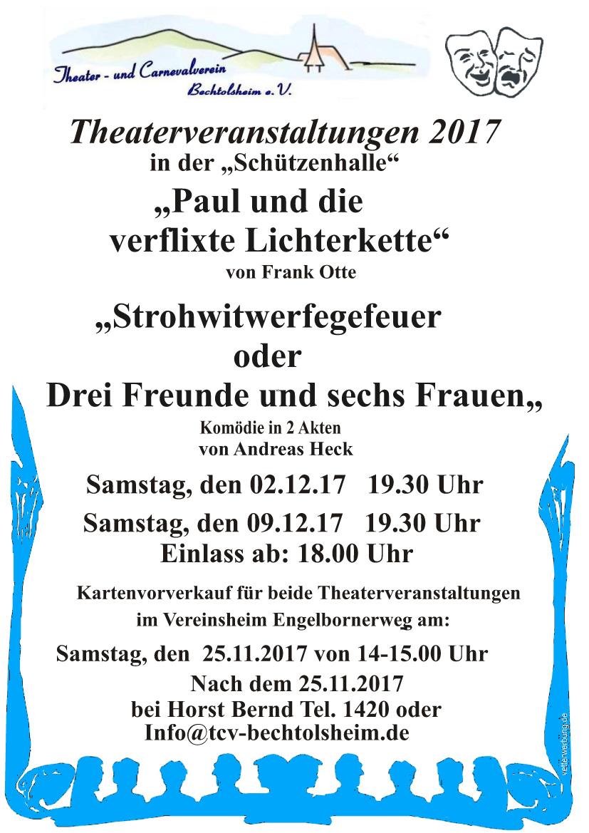 Plakat der Aufführungen des TCV Bechtolsheim u.a. zu Strohwitwerfegefeuer