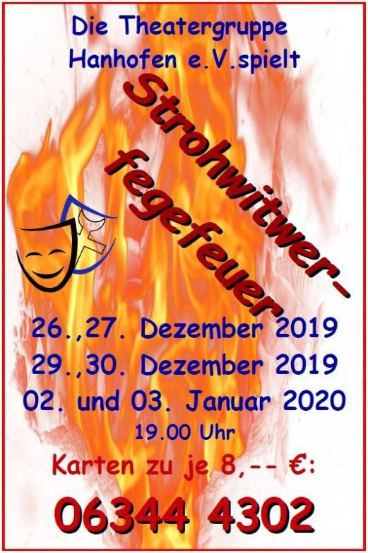 """Flyer der Theatergruppe Hanhofen e.V. zu """"Strohwitwerfegefeuer"""""""