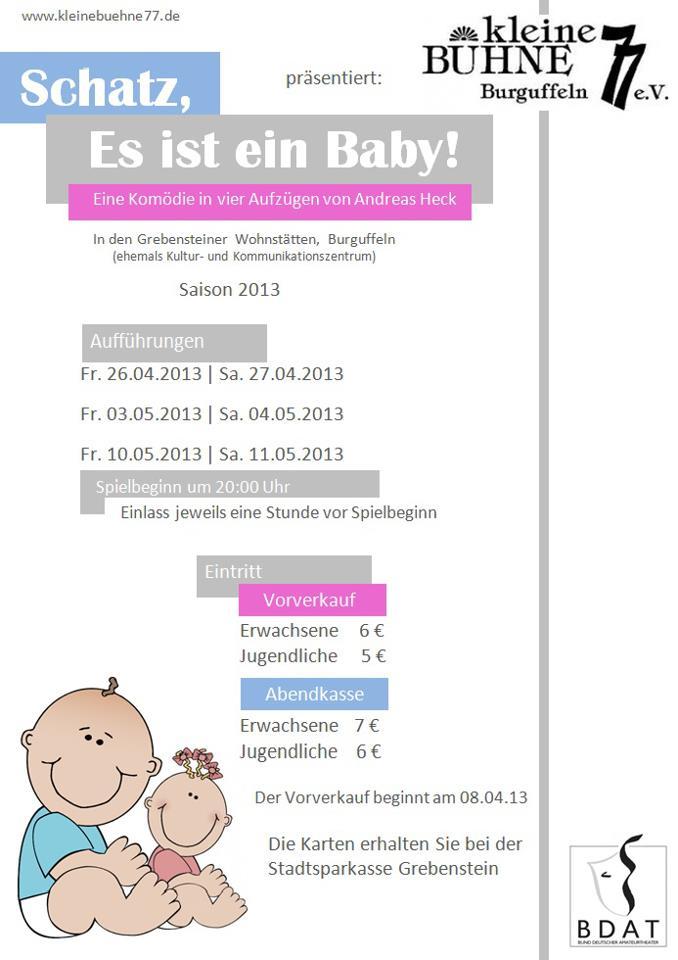 """Plakat der kleinen Bühne 77 zu """"Schatz, es ist ein Baby!"""""""