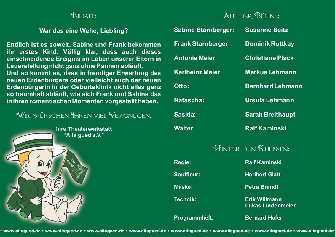 """Programmheft der Theaterwerkstatt """"alla gued e.V."""" in Griesheim"""