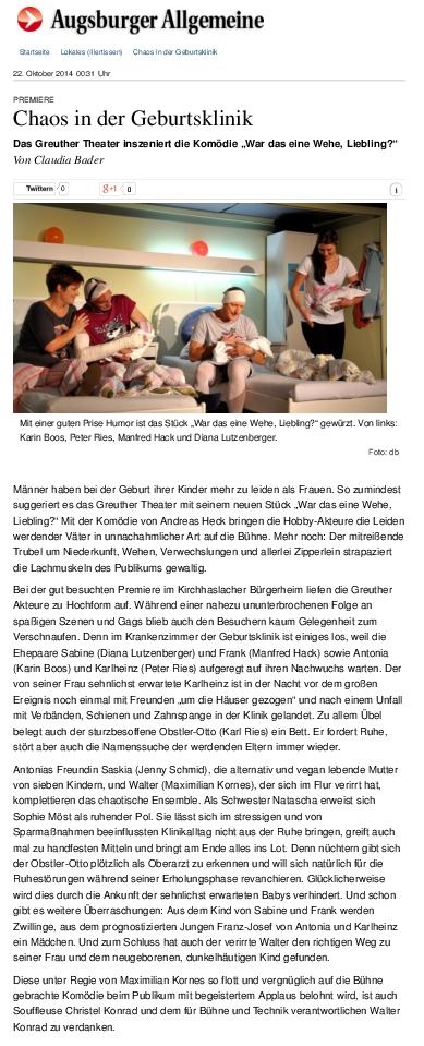 """Aus der Augsburher Allgemeinen zur Premiere der """"Wehe"""" in Kirchhaslach"""