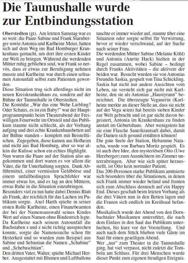 """Aus der Oberurseler Woche zur Aufführung der Blaulicht Komödianten von """"war das eine Wehe Liebling"""""""