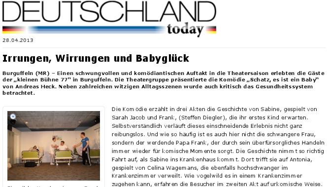 """Ausshnit aus dem Atikel in Deutschland Today zu """"War das eine Wehe Liebling?"""" der kleinen Bühne 77 in Burguffeln."""