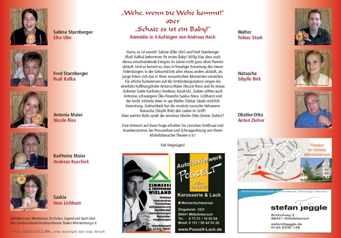 """Flyer mit den SpielerInnen des Mittelbiberacher Theaters zur """"Wehe"""""""