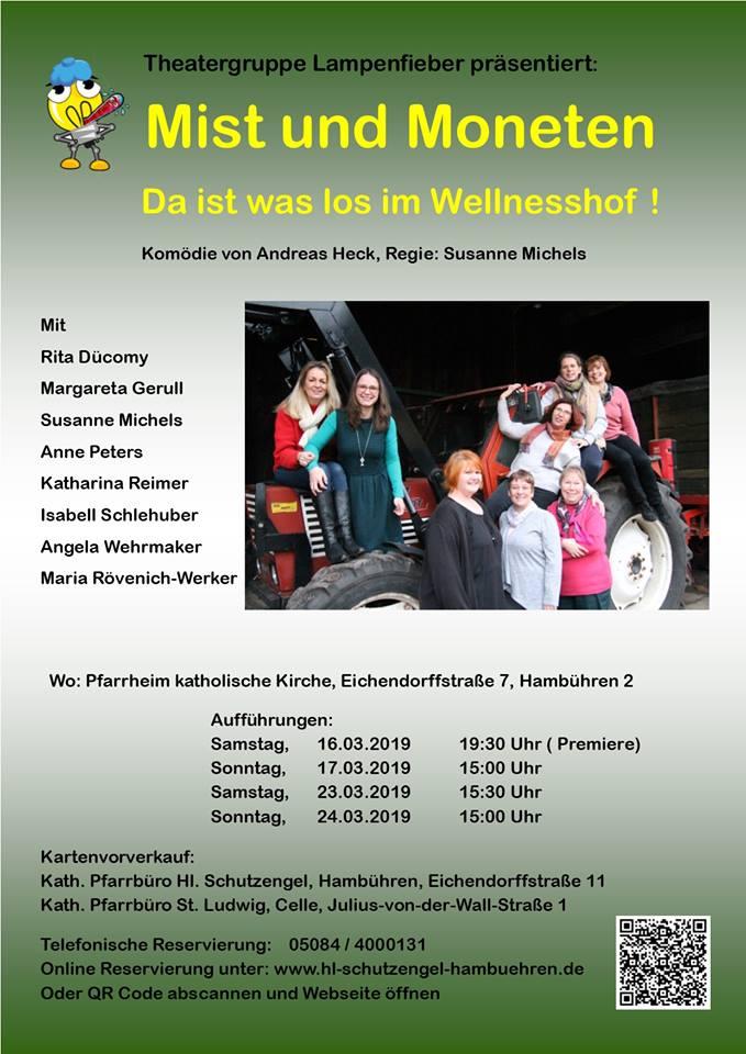 """Plakat der Theatergruppe Lampenfieber Hambühren zu """"Mist und Moneten"""""""