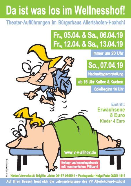 """Plakat der Theatergruppe im Heimatverein Allertshofen-Hoxhohl zu """"Da ist was los im Wellnesshof"""""""