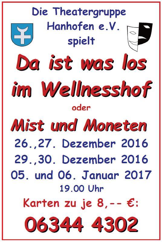 """Plakat der Theatergruppe Hanhofen zu """"Da ist was los im Wellnesshof"""""""