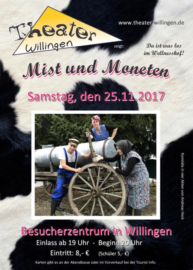 """Plakat des Theaters Willingen zu """"Mist und Moneten"""""""