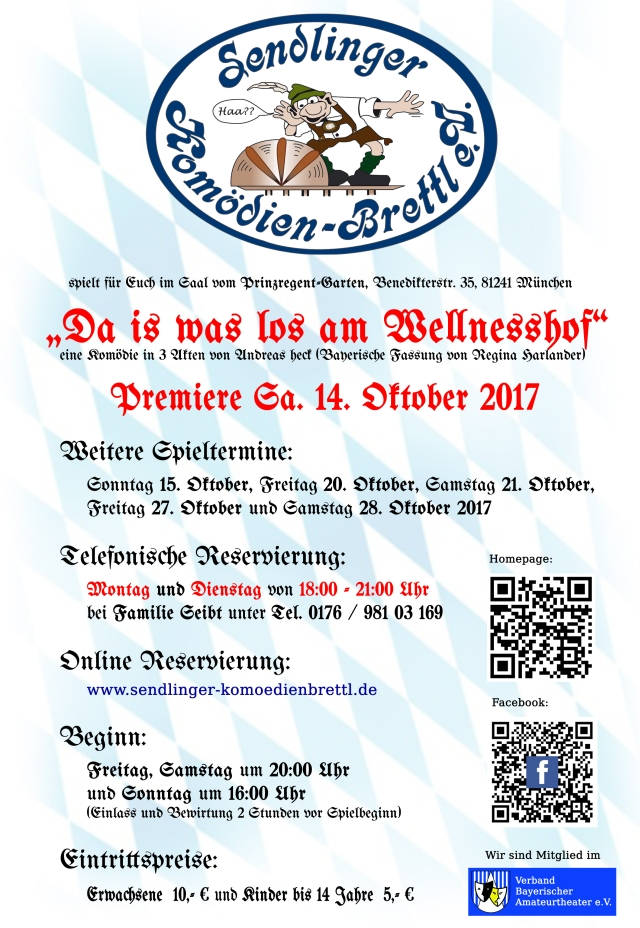 """Plakat des Sendlinger Komoedienbrettls zu """"Da is was los am Wellnesshof"""""""
