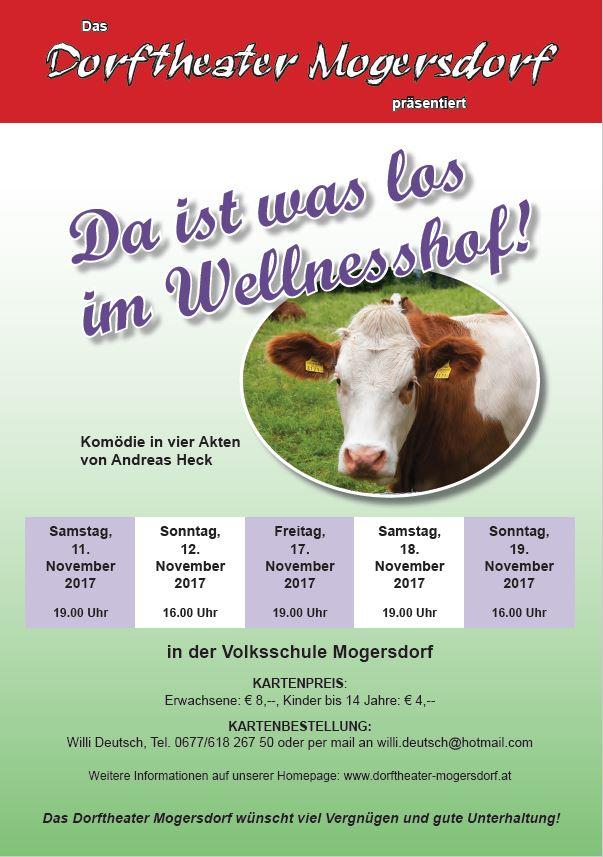 """Plakat zu """"Da ist was los im Wellnesshof"""" des Dorftheaters Mogersdorf"""