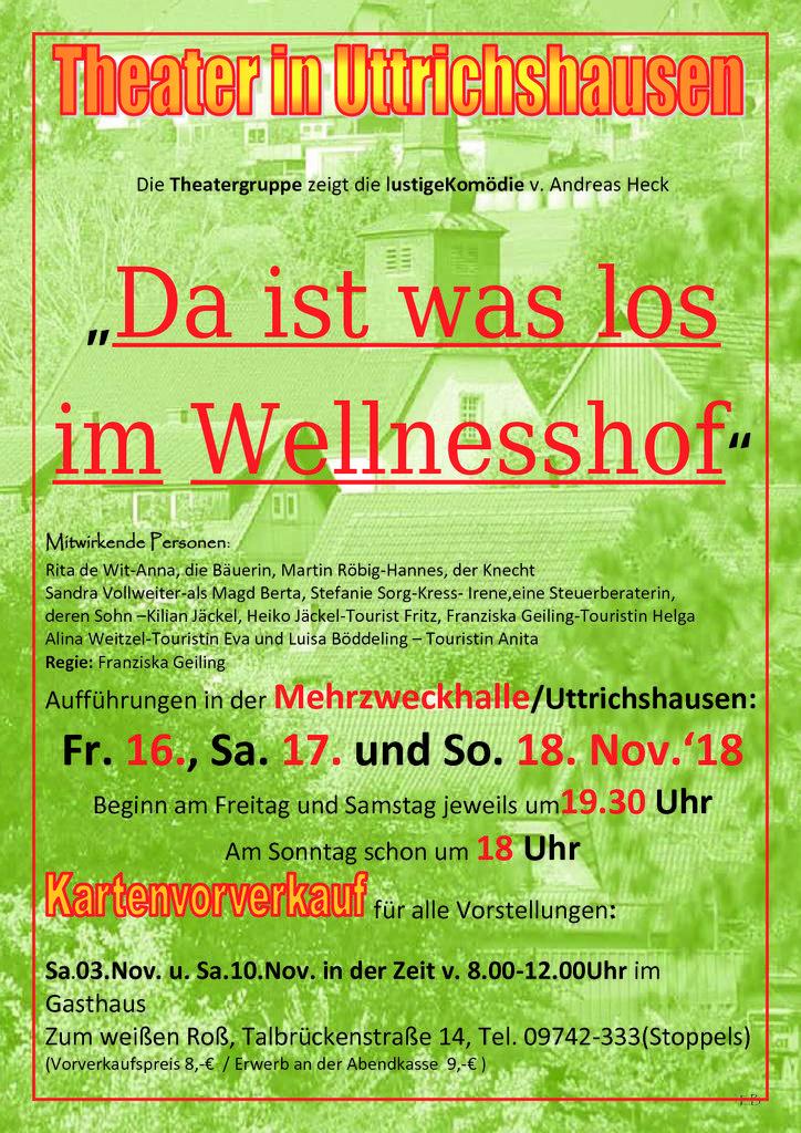 """Plakat der Theatergruppe Uttrichshausen zu """"Da ist was los im Wellnesshof!"""""""