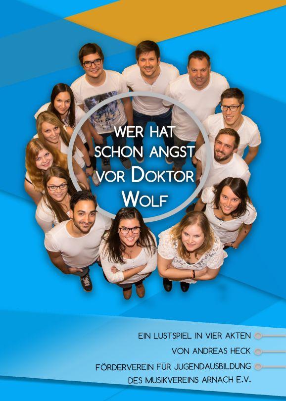"""Plakat der Theatergrupppe des MV Arnach zu """"Wer hat schon Angst vor Dr. Wolf"""""""