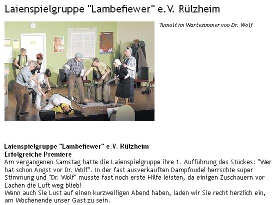 Aufführung Doktor Wolf Theatergruppe Lambefiewer in Rülzheim
