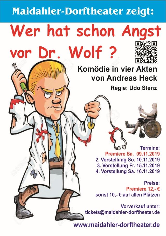 """Plakat des Maidahler Dorftheaters zu """"Wer hat schon Angst vor Dr. Wolf?"""""""