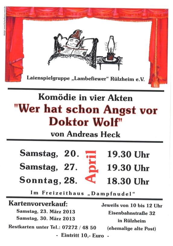 """Plakat Laienspielgruppe Lambefiewer Ruelzheim """"Wer hat schon ANgst vor Dr. Wolf?"""""""