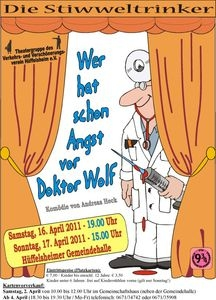 Plakat der Aufführung der Stiwweltrinker in Hüffelsheim