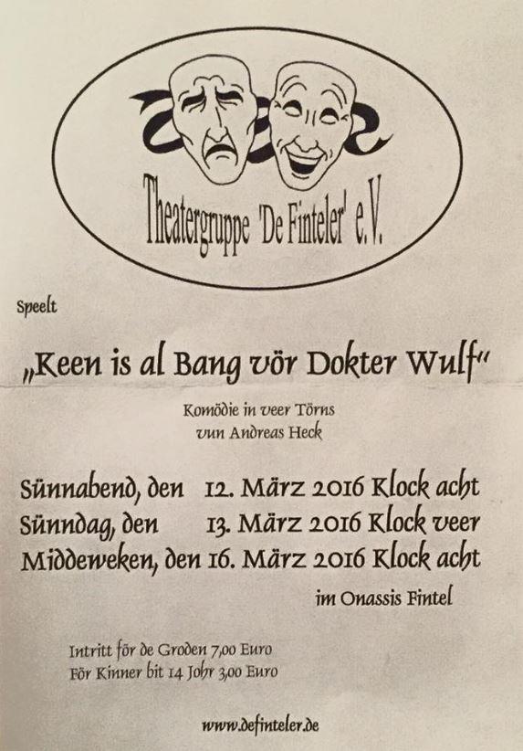 """Plakat de Finteler """"Keen is all Bang vör Dr. Wulf"""""""