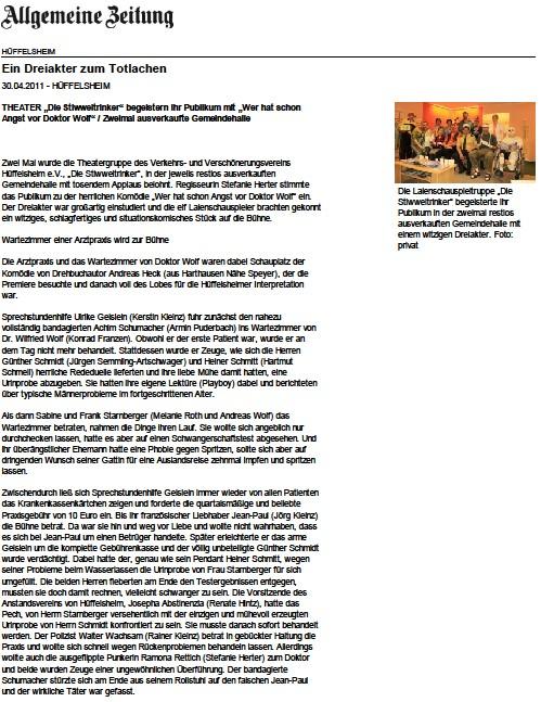 Zeitungsausschnitt zu Doktor Wolf in Hüffelsheim aus der allgemeinen Zeitung