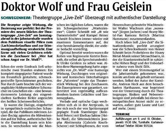 Artikel aus der Speyerer Rundschau der Rheinpfalz